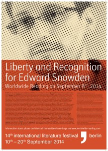 "Plakat der Weltweiten Lesung ""Liberty and Recognition for Edward Snowden"""