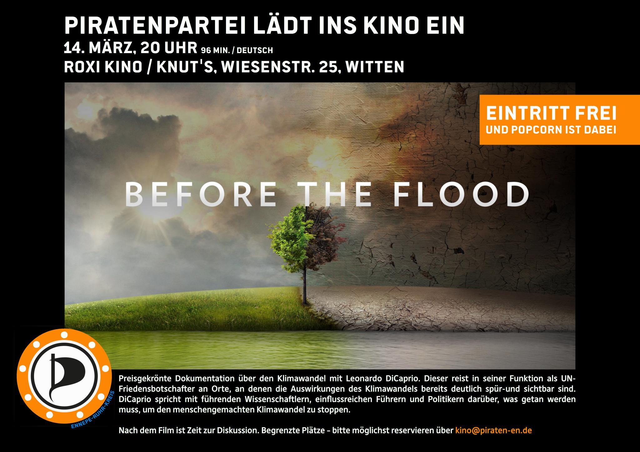 """Veranstaltungsplakat für das Piratenkino """"Before the Flood"""""""